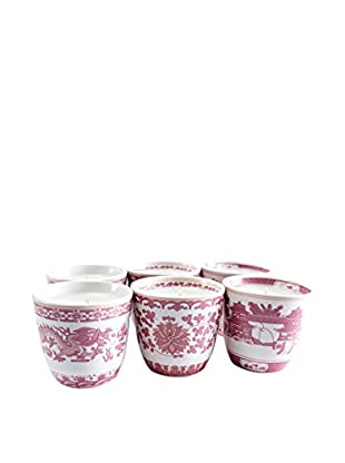 Market Street Candles 6-Pack of Rose Scented Shanghai Candles, Pink