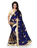 Shree Sanskruti Embriodered Crepe Chiffon Blue Color Saree For Women With Blouse Piece