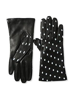 Portolano Women's Dot Print Leather Gloves (Black/Alaska)