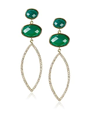 Melanie Auld Green Onyx Double Oval Earrings