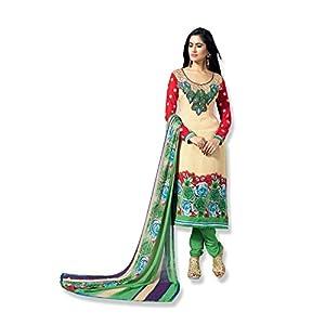 Fabfiza Semi Stitched Anarkali Suit - Cream
