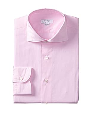Orian Men's Slim Fit Washed Wide Spread Collar Poplin Microcheck Dress Shirt (Pink)