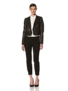 Andrew Marc Women's Audrey Asymmetrical Leather Jacket (Black)