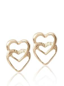 Disney Princess 10K Gold Double Heart Stud Earrings