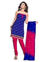 vardhman Blue Chanderi Straight Dupata Work Dressmaterial Suit.