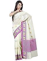 Mimosa Banarasi Soft Cotton Saree Half white Colour(3127-AP-309-HWITE)