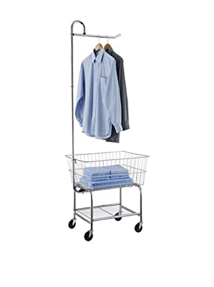 Organize It All Laundry Basket Center With Hanging Bar, Chrome