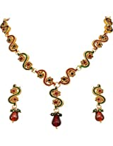 Surat Diamonds Gold Plated Red and Green Stone Necklace Set