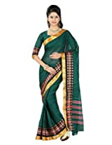 Paaneri Forest Green Colour with Golden Border Plain Blended Cotton Saree_15103501405