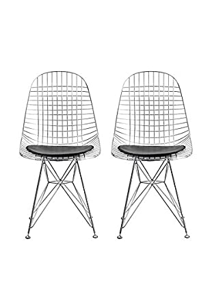 Manhattan Living Set of 2 Eiffel Dining Chairsn, Black