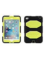 iPad mini 4 Case with Stand, Black and Neon Yellow Survivor All-Terrain, [Rugged] [Protective] [Dual Layer] [Heavy Duty] [Shock Absorption] [Polycarbonate] [Silicone]