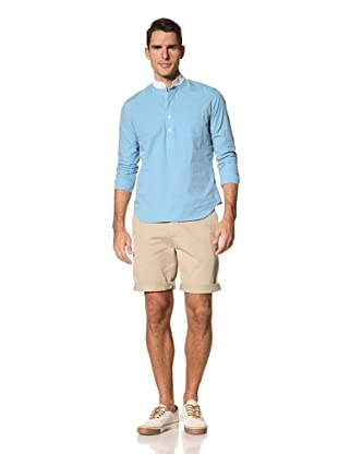 Timo Weiland Men's Henry Contrast Collar Henley (Aqua/Ivory)