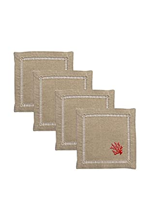 Henry Handwork Set of 4 Red Coral French Knot Cocktail Napkins, Natural