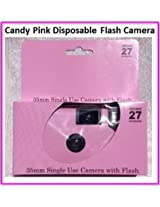10 Candy Pink disposable flash cameras can be used for wedding, birthday, baby shower, anniversary or any party. Pretty Plain design, 35mm, 27exposures