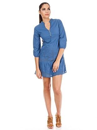 Cortefiel Vestido Bordado Casual (Azul)