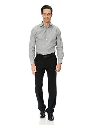 Vincenzo Boretti Baumwollhemd - Slim Fit, tailliert, bügelfrei (Grau/Weiß)