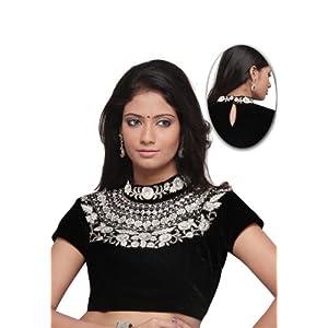 Black Velvet Embroidered Readymade Blouse