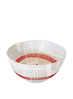 Asian Loft Swaziland Handcrafted Paper Mache Bowl with Stitch Pattern, White/Red