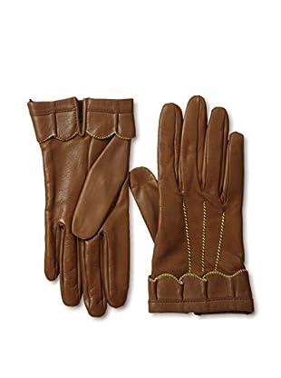 Portolano Women's Scalloped Ruffle Trim Leather Gloves (Tobacco/Yellow)