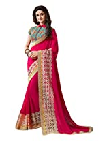 Brijraj Pink Poly Georgette Resham Embroidered Beautiful Saree With Unstitch Blouse