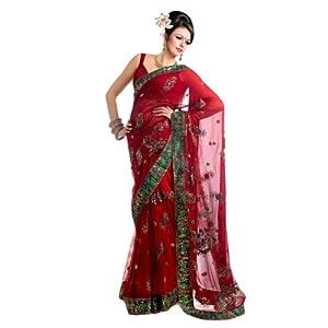 GFS1008 Half & Half Red Nett Designer Saree