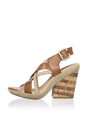 Gunmetal Women's Sandy Wedge Sandal (Saddle/Tan)