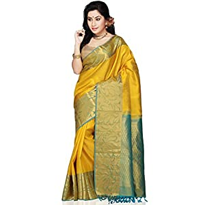 Utsav Fashion Handloom Saree with Blouse - Yellow