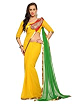 Designersareez Women Faux georgette Embroidered Yellow Saree with unstitched blouse(1505)