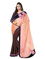 Dlines Peach & brown Bordered saree