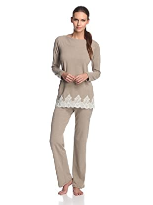 Valery Sleepwear Women's Cinderella 2-Piece Lace Trim PJ Set (Beige)