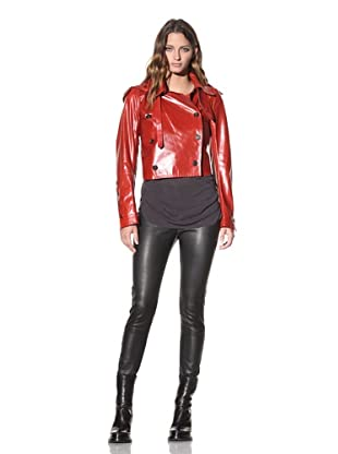 Ann Demeulemeester Women's Double-Breasted Leather Jacket (Fire)
