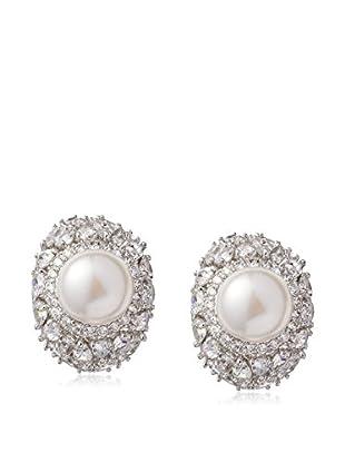 CZ by Kenneth Jay Lane Half Dome Fresh Water Pearl Clip Earrings