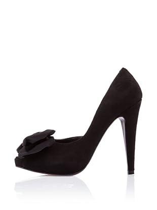 Caramelo Zapatos Peep Toe (Negro)