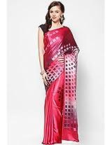 Satin Pink Printed Saree