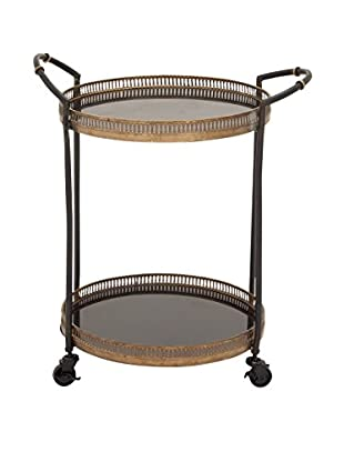 Round Metal & Marble Tray Cart, Brown