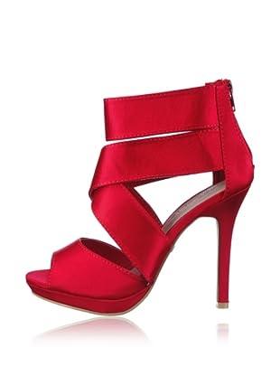 Buffalo Girl 311509A SATIN 132106 - Sandalias fashion de tela  mujer (Rojo)