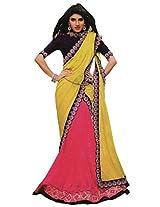 Suchi Fashion Yellow and Pink Heavy Border Saree