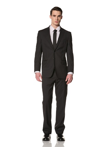 Yves Saint Laurent Suits in Loro Piana Wool Men's Two Tone Striped Classic Suit (Black/Grey)