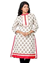 B3Fashion Party wear Chanderi Silk Kurti with Floral weaves and embroidered lace front panel work