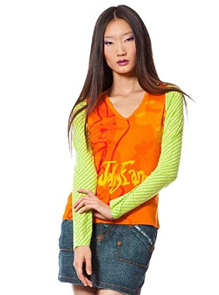 Custo Camiseta Graps (Naranja / Pistacho)