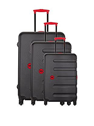 Bag Stone Set de 3 trolleys rígidos Moon Carbón / Rojo
