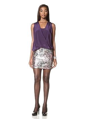 Donna Morgan Women's Draped Dress with Sequin Skirt (Sugar Plum/ Metallic Multi)