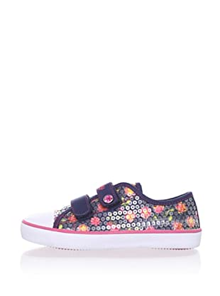 Pablosky Kid's Floral Sequin Sneaker (Navy blue)