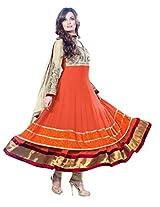 Anvi Creations Orange Cream Pure Georgette Dress Material (Orange Cream_Free Size)