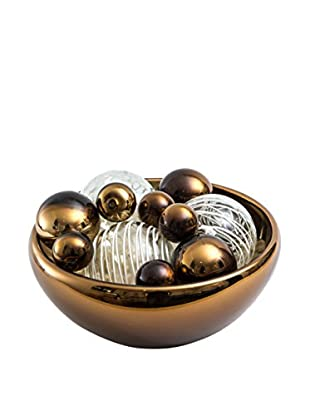 Worldly Goods Glass Bowl with 12 Glass Spheres, Chocolate/White