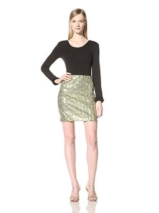 Pink Tartan Women's Sparkle Sequin Skirt (Olive/Gold)