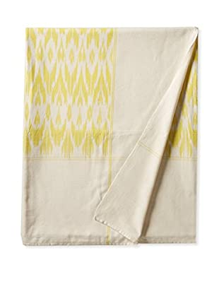 Nomadic Thread Society Ikat Bed Cover, Yellow/White Warp, Queen