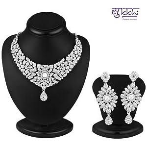 Necklace sets - Sukkhi Rajasthani Rhodium plated AD Stone Necklace Set