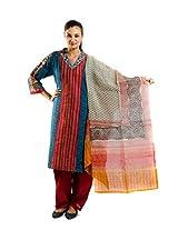 Kaalika Women's Silky Slub Salwar Suit (K-733-Freesize-Blue/Red _Blue _Free Size)