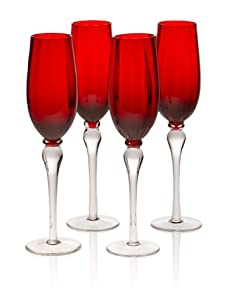 Rosanna Set of 4 Soiree Champagne Glasses (Red)